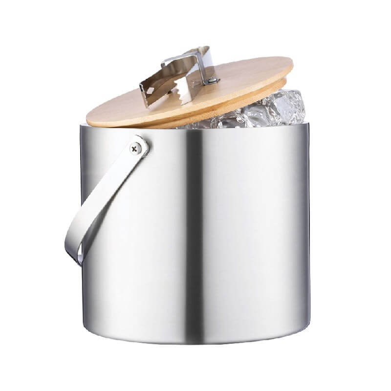 Insulated Ice Bucket With Wood Lid and Ice Tongs