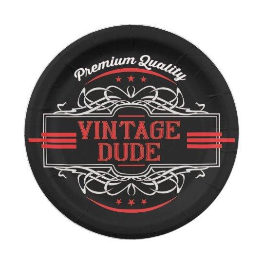 Personalized Premium Quality Vintage Dude Paper Plate