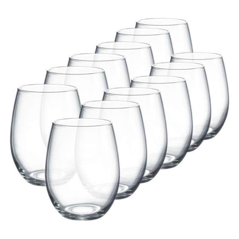 Stemless Wine Glasses Set of Twelve