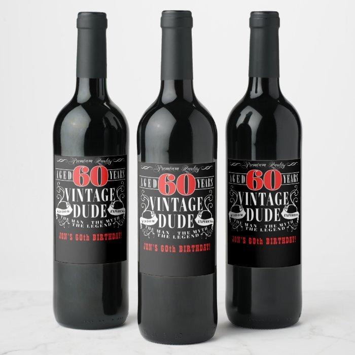 Vintage Dude Personalized Wine Bottle Labels